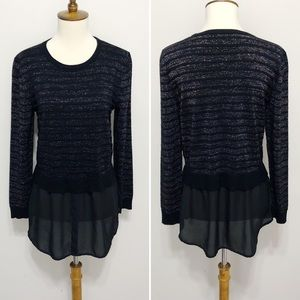 Mixed Media Metallic Stripe Chiffon-Trim Sweater